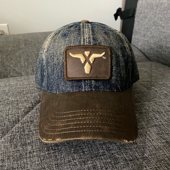 Wrangler Denim cap with leather Bill